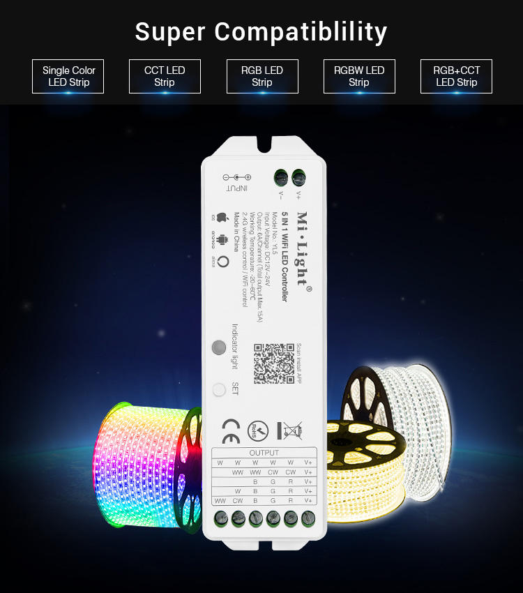 5-in-1 WiFi LED strip controller (compatible with Alexa voice control) (YL5)